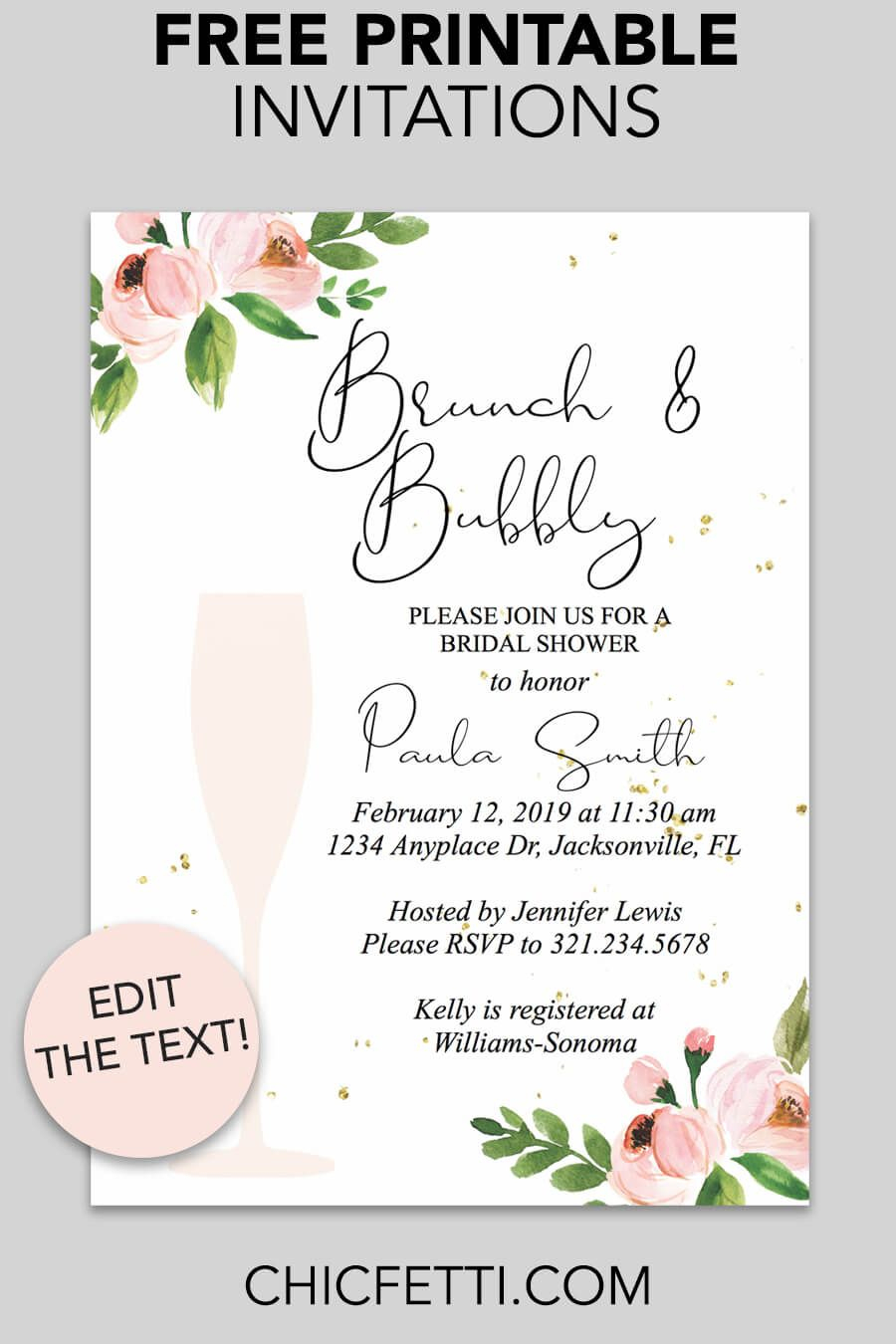 Bridal Shower Printable Invitation (Floral Bubbly | Invitations - Free Printable Bridal Shower Invitations