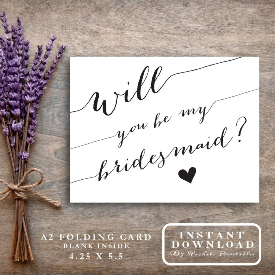 "Bridesmaid Card Printable ""will You Be My Bridesmaid"" Asking - Free Printable Will You Be My Bridesmaid Cards"