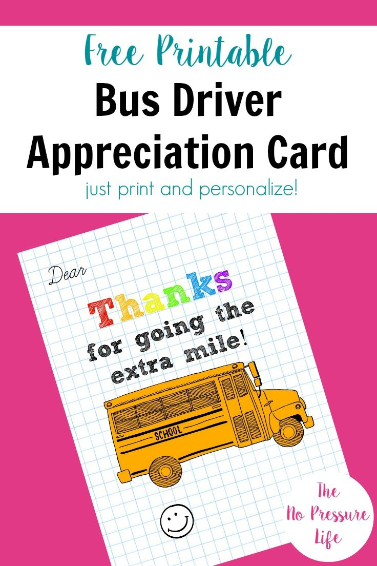 Bus Driver Appreciation Card: Free Printable!   Free Printables - Free Printable Days Of The Week Cards