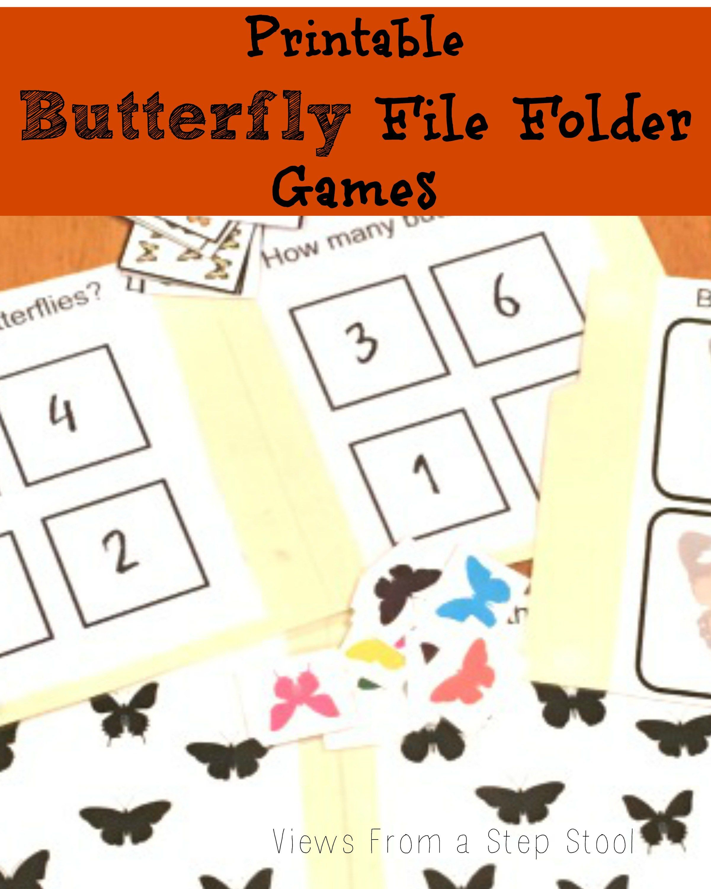 Butterfly File Folder Games: Free Printable! | Views From A Step - Free Printable Folder Games