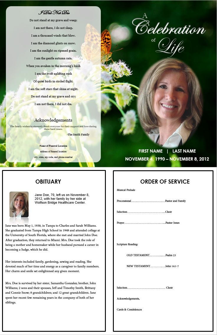 Butterfly Memorial Program | Memorials | Funeral Memorial, Memorial - Free Printable Funeral Programs