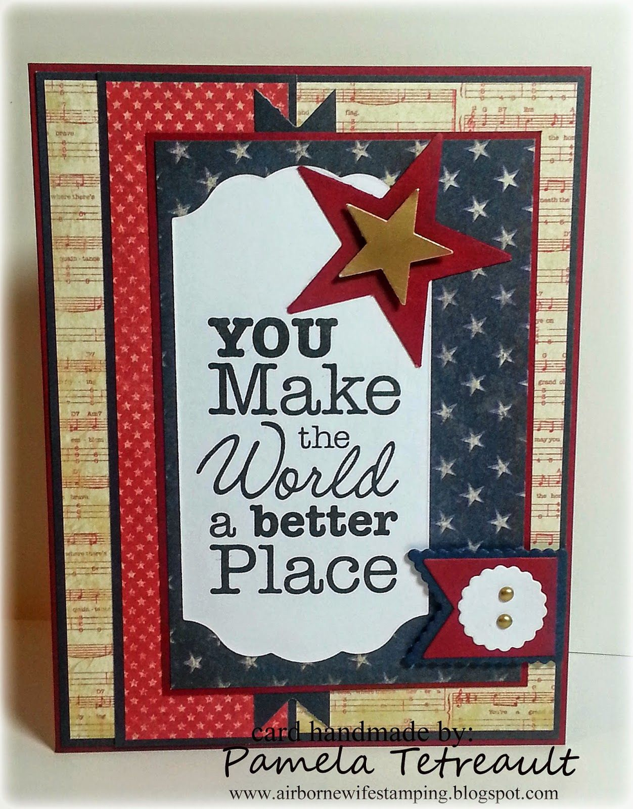 """By Pamela Tetreault. Patriotic Card. Sentiment From """"vertical - Free Printable Military Greeting Cards"""