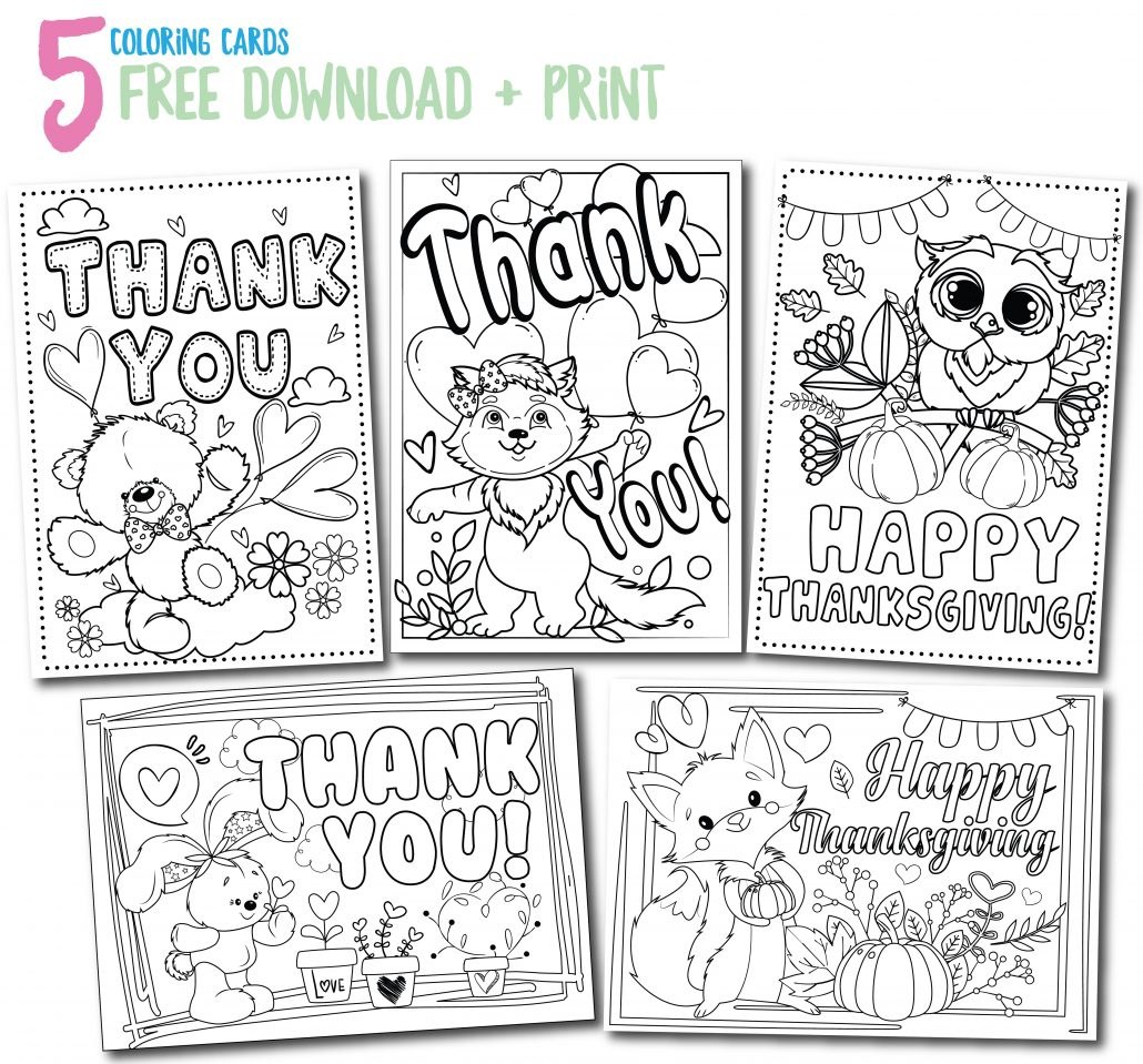Calm Kids At Thanksgiving? Here's A Simple Exercise And Project - Free Printable Color Your Own Cards
