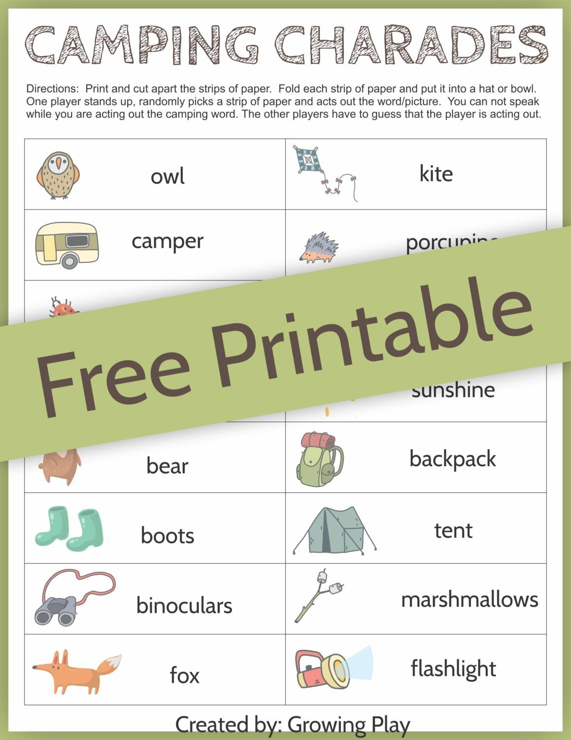 Camping Charades Game For Kids - Free Printable | Camping | Games - Free Printable Camping Games