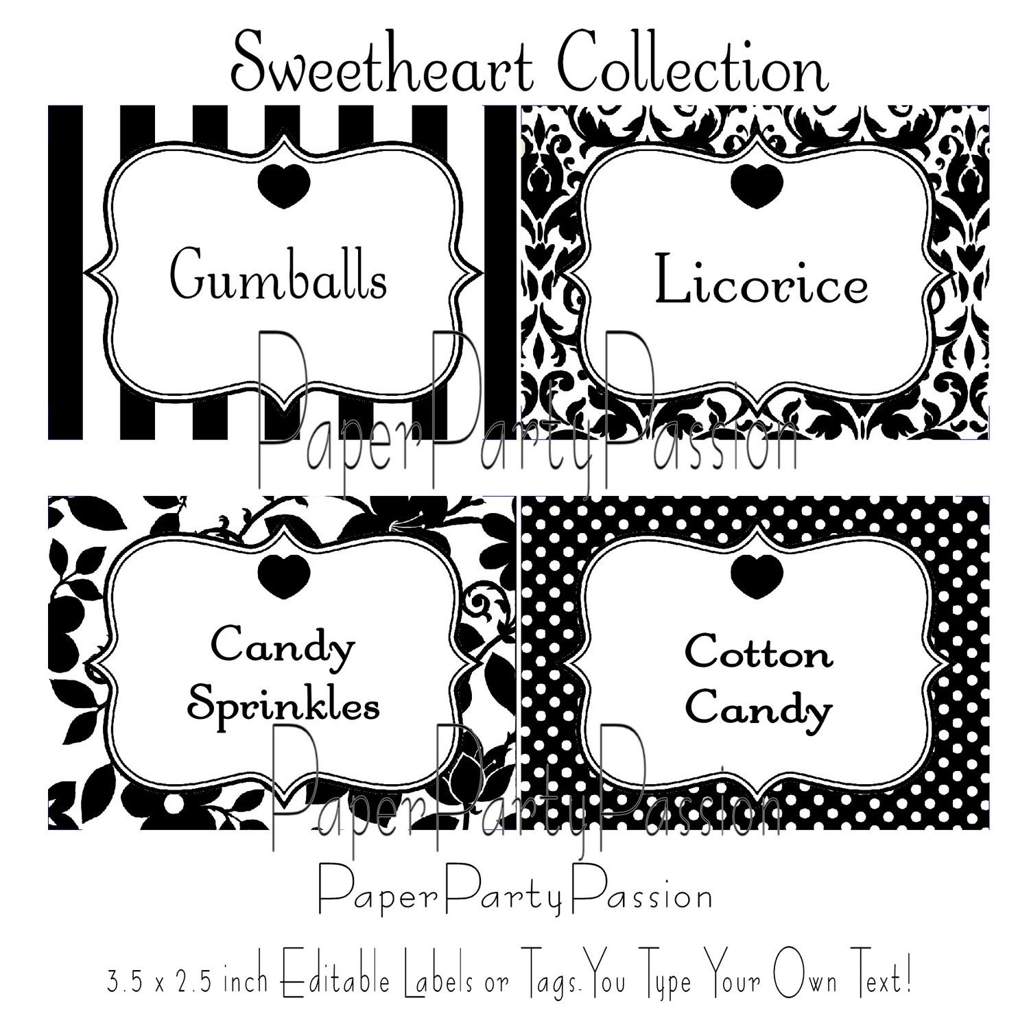 Candy Buffet Printable Editable Party Labels Or Tags Black And White - Free Printable Buffet Food Labels