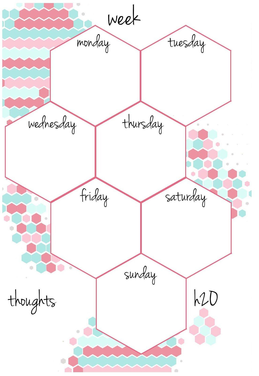 Candy Hexagon Planner Inserts | Undated A5 & A6 Week On A Page To Do - Free Printable Weekly Planner 2017
