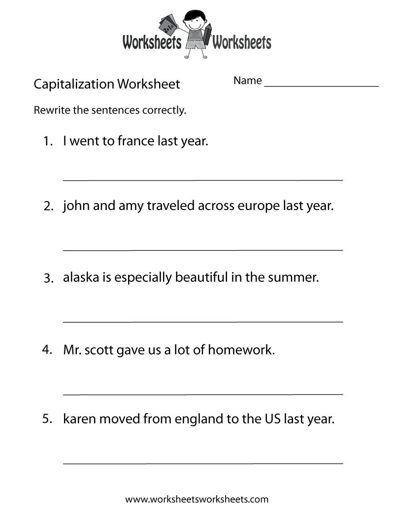 Capitalization Worksheets | Capitalization Practice Worksheet - Free - Free Printable Grammar Worksheets For 2Nd Grade