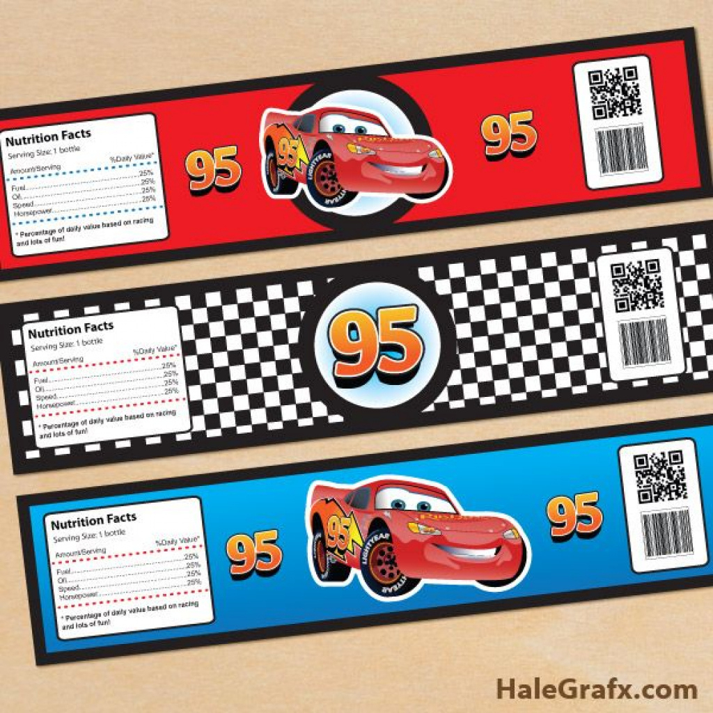 Cars Bottle Labels Free Printable Disney Cars Lightning Mcqueen - Free Printable Disney Cars Water Bottle Labels