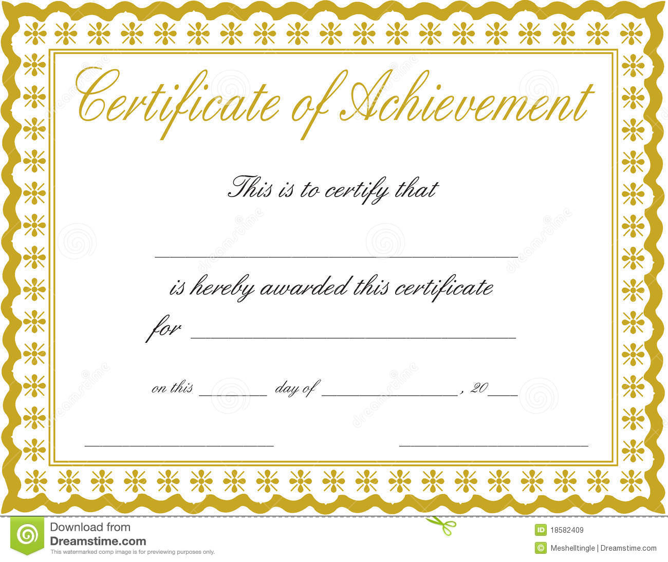 Certificate Of Achievement Stock Image. Image Of Bronze - 18582409 - Free Printable Blank Certificates Of Achievement
