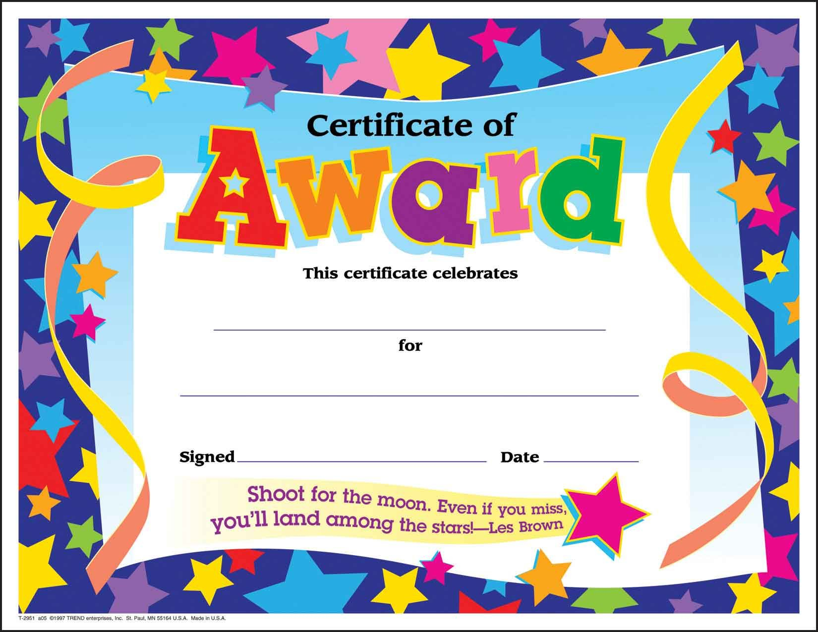 Certificate Template For Kids Free Certificate Templates - Free Printable Certificates For Students