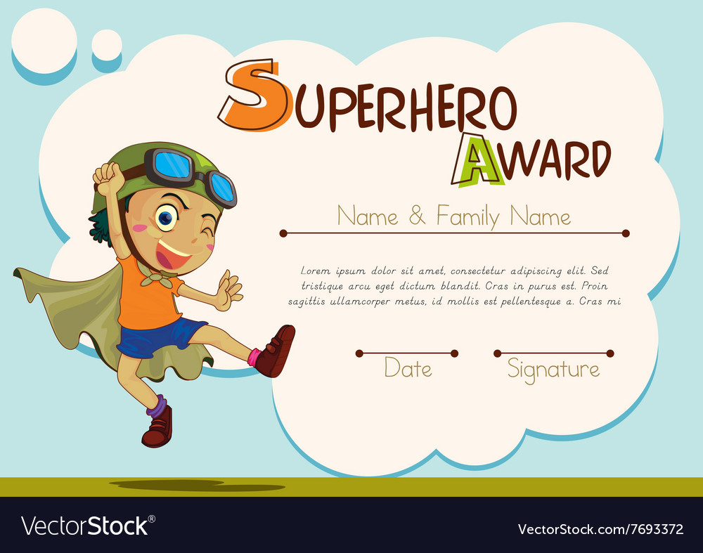Certificate Template With Boy Being Superhero Vector Image - Free Printable Superhero Certificates