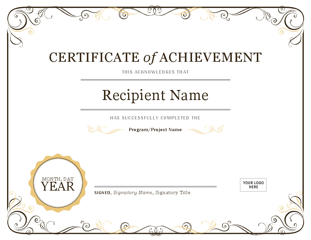 Certificates - Office - Free Printable Blank Certificates Of Achievement