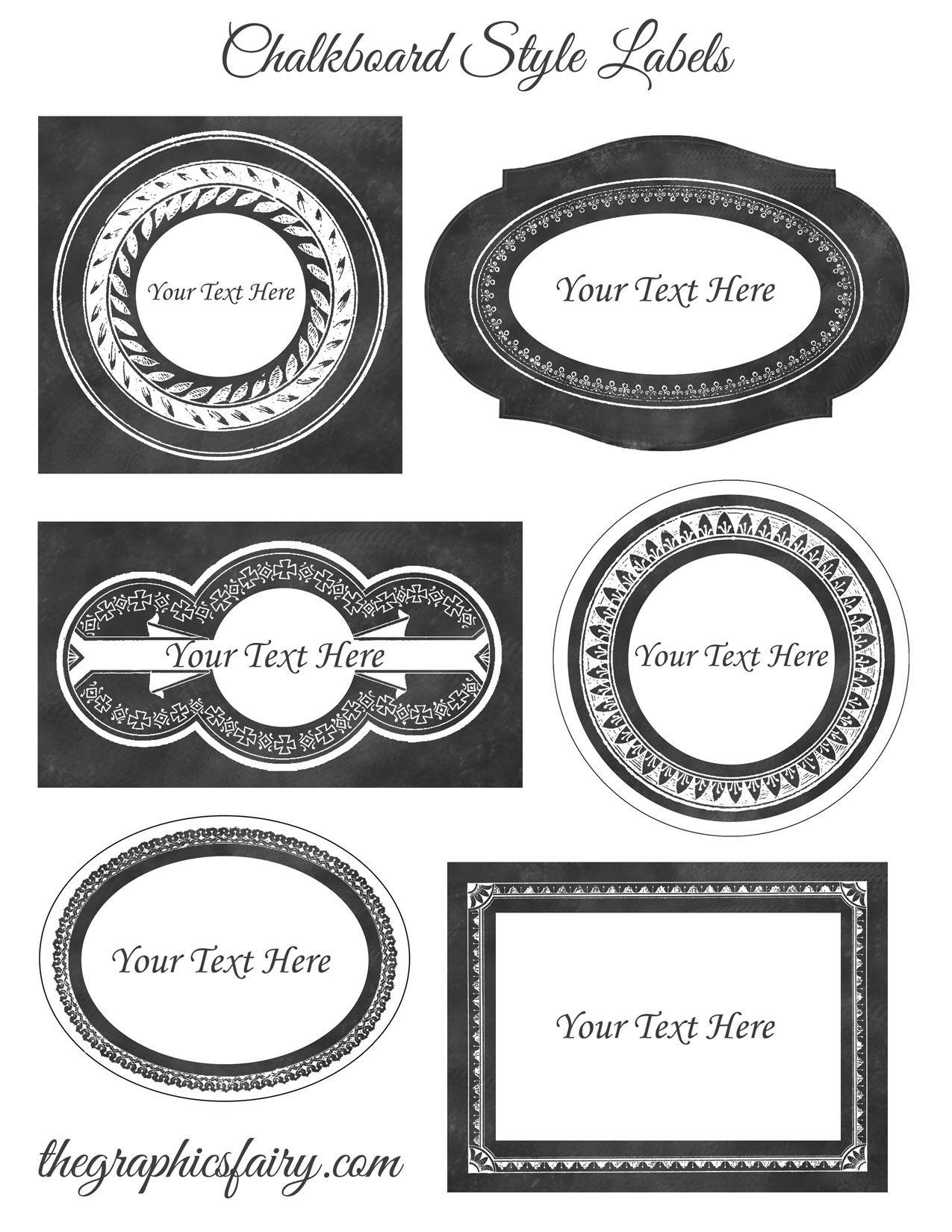 Chalkboard Style Printable Labels - Editable | Vintage Ad, Art And - Free Editable Printable Labels