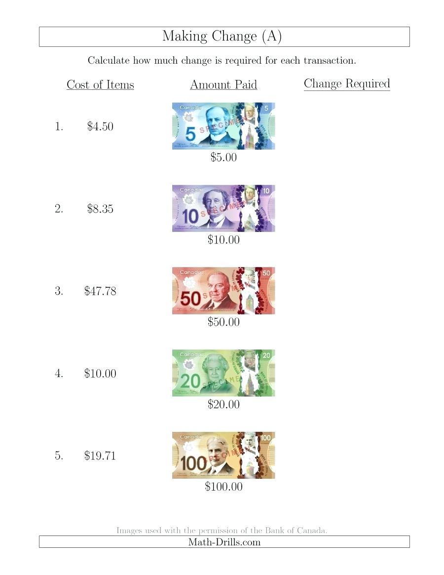 Change As In Money Math – Dukai.club - Free Printable Making Change Worksheets