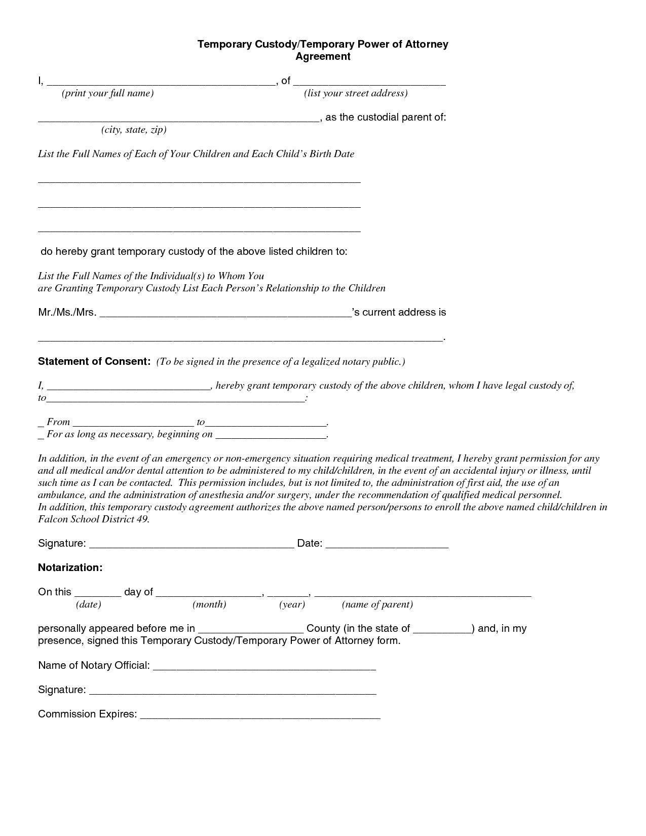Child Custody Agreement Special Best S Of Temporary Guardianship - Free Printable Temporary Guardianship Form