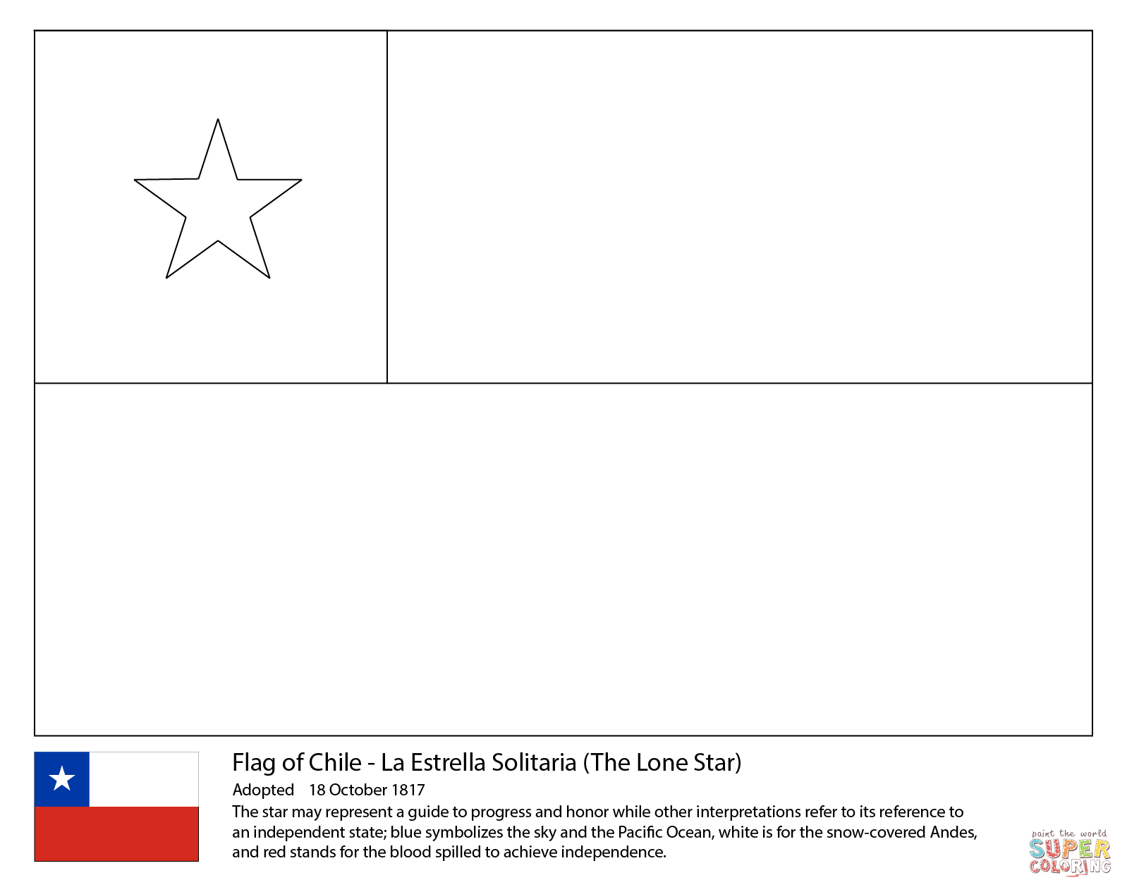 Chile Flag Coloring Page | Free Printable Coloring Pages - Free Printable Flags From Around The World