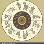 Chinese Zodiac Wheel With Twelve Stock Illustration I5585960 At   Free Printable Chinese Zodiac Wheel