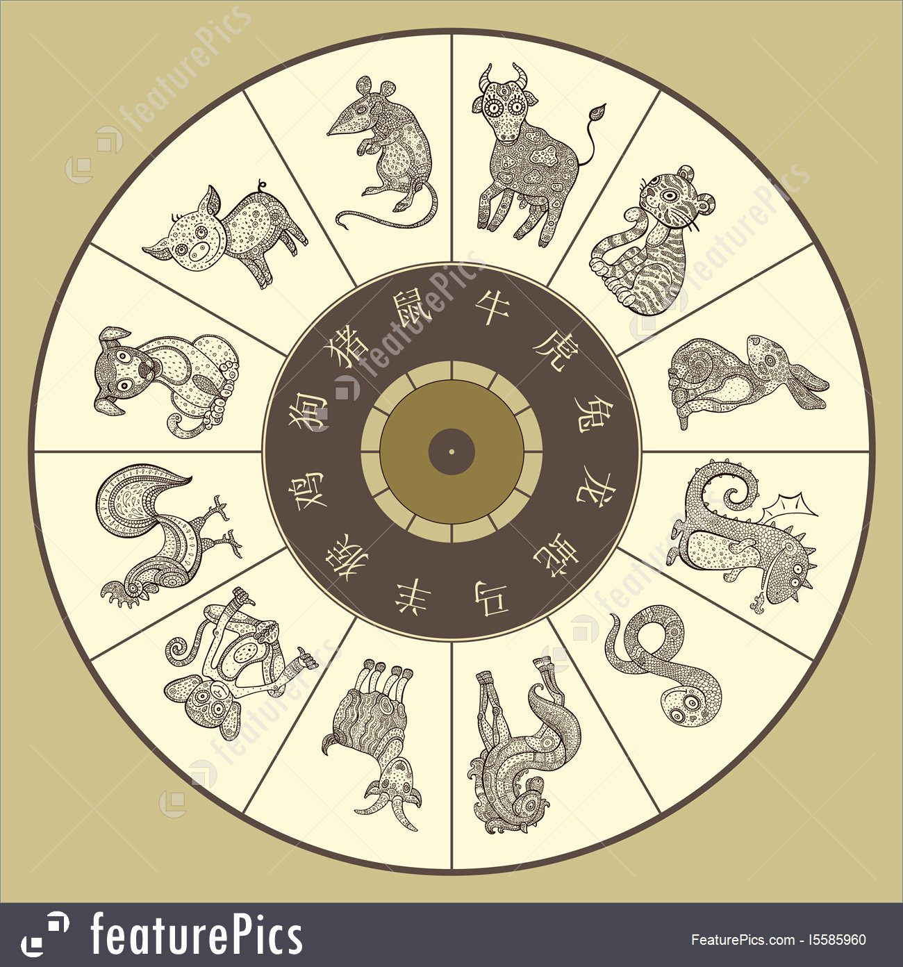 Chinese Zodiac Wheel With Twelve Stock Illustration I5585960 At - Free Printable Chinese Zodiac Wheel