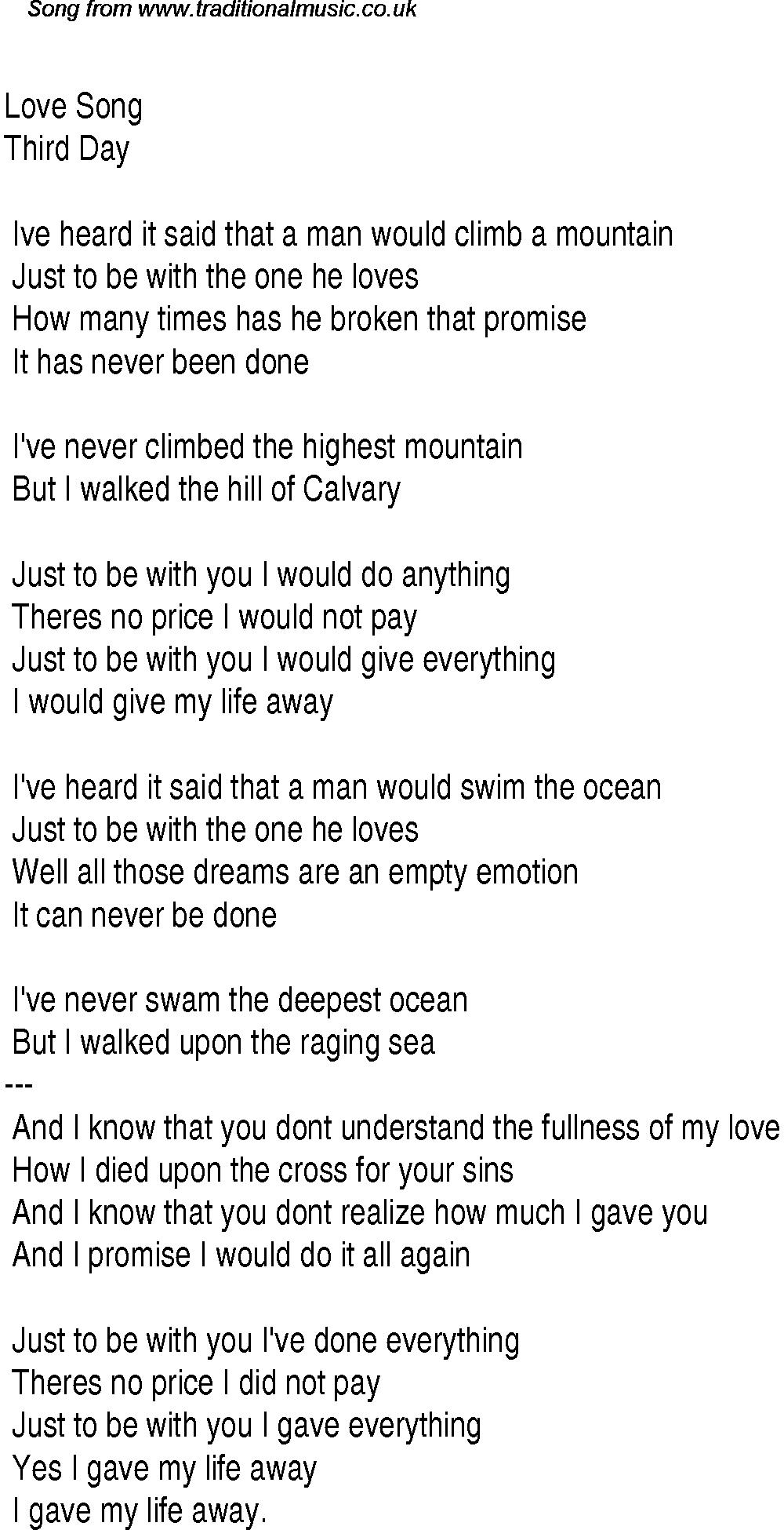 Christian Songs | Christian Worship Song Lyrics: Love Song | Music - Free Printable Lyrics To Christian Songs