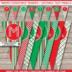 Christmas Banner Template | Merry Christmas Banner | Editable Bunting   Free Printable Christmas Banner