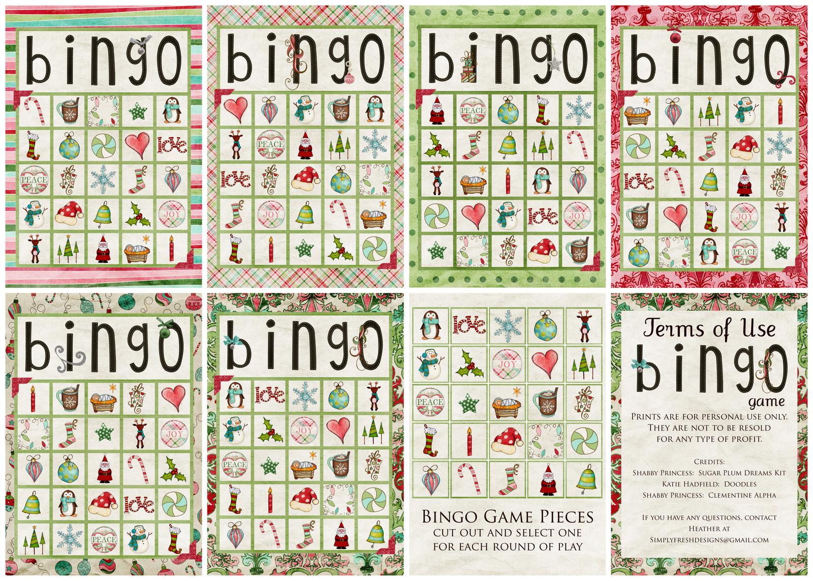 Christmas Bingo Game - Simply Fresh Designs - Free Printable Christmas Bingo Cards