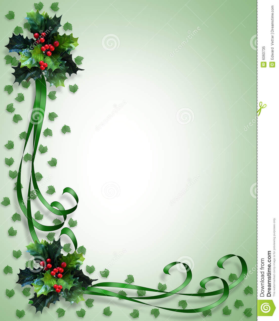 Christmas Border Holly And Ribbons Stock Illustration - Illustration - Free Printable Christmas Backgrounds