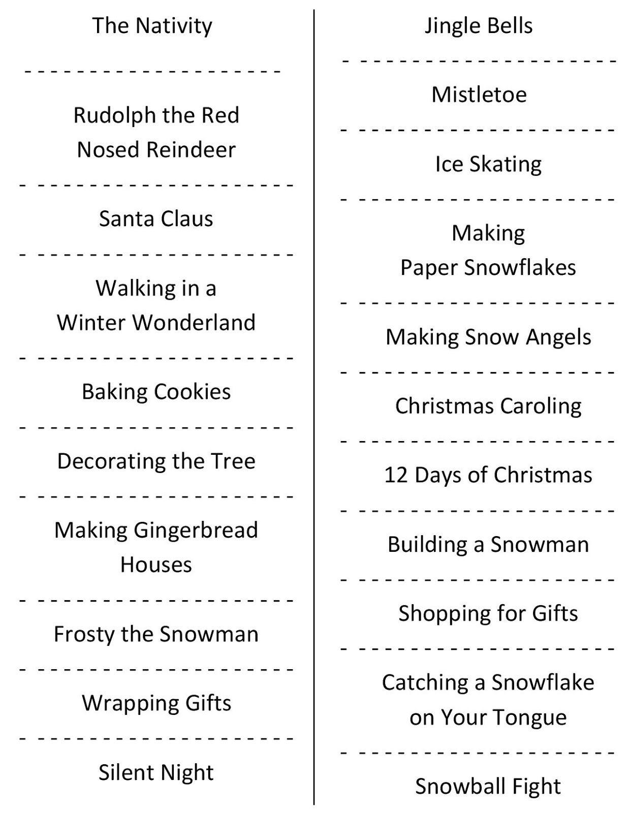 Christmas Charades (Free Printable Party Game)   Christmas   Holiday - Free Printable Charades Cards