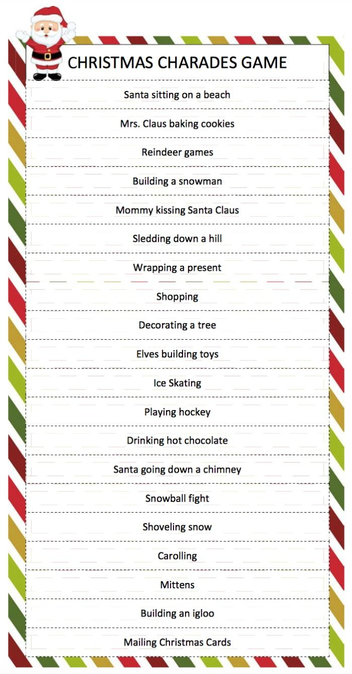 Christmas Charades Game | Breakfast Brunch | Pinterest | Christmas - Holiday Office Party Games Free Printable