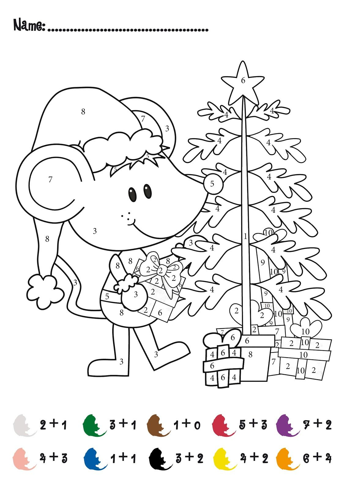 Christmas Colornumbers Printables | Christmas Addition Math - Free Printable Christmas Color By Number Coloring Pages