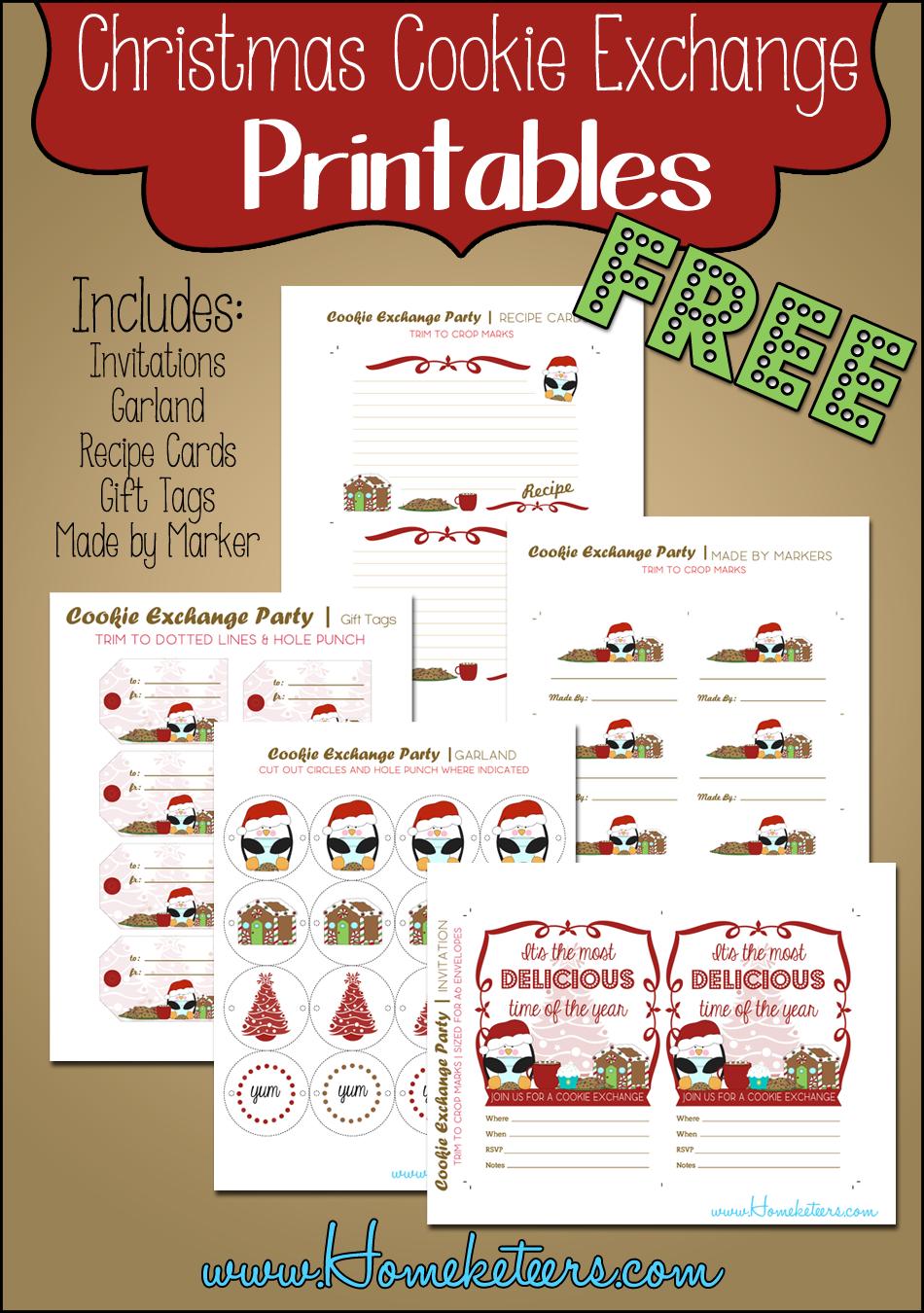 Christmas Cookie Exchange ~ Free Printables | Avec Amour, Fait - Free Christmas Cookie Exchange Printable Invitation