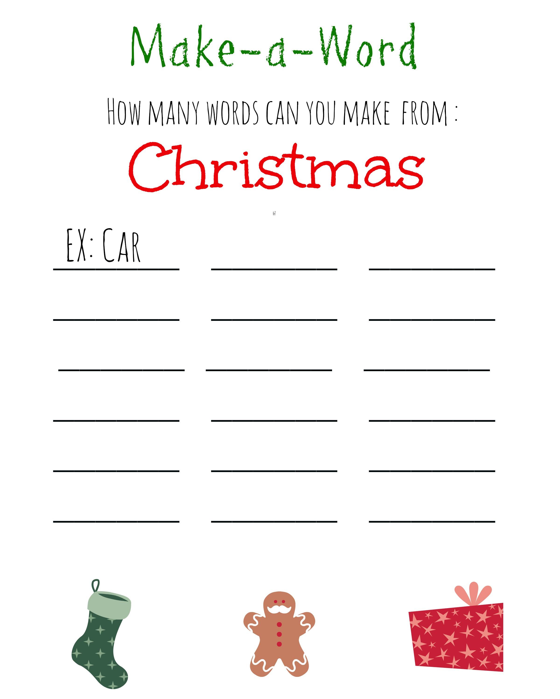 Christmas Games For Kids ~ Free Printable, Christmas Make A Word - Free Printable Group Games