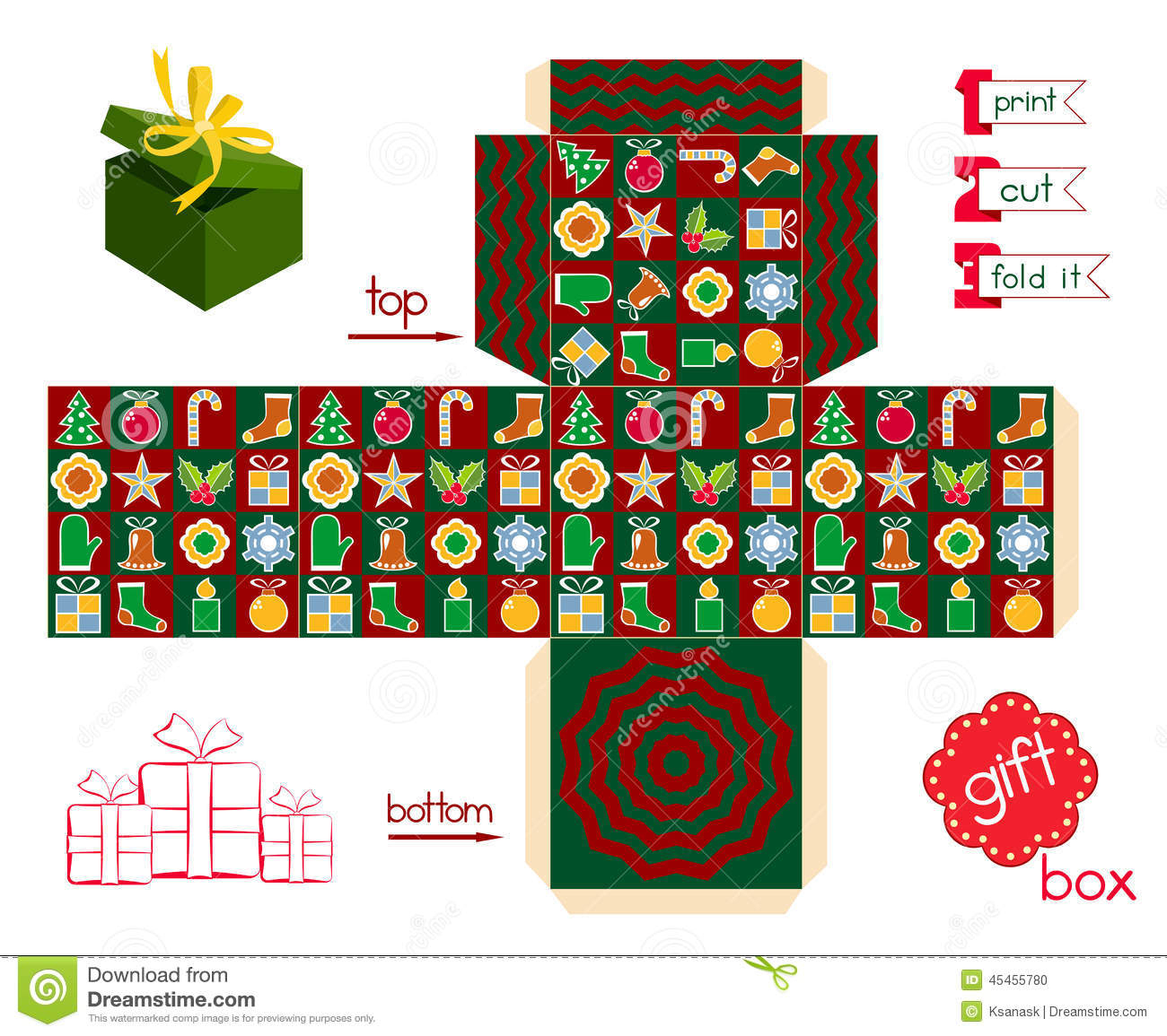 Christmas Gift Box Template Free Printable – Festival Collections - Printable Box Templates Free Download