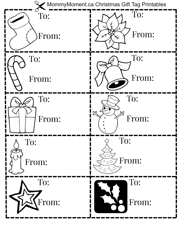 Christmas Gift Tag Printables   Mommy Moment - Christmas Gift Tags Free Printable Black And White