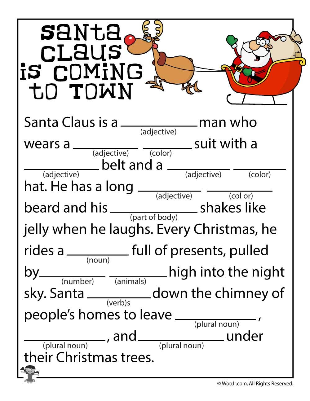 Christmas Mad Libs   Woo! Jr. Kids Activities - Christmas Mad Libs Printable Free