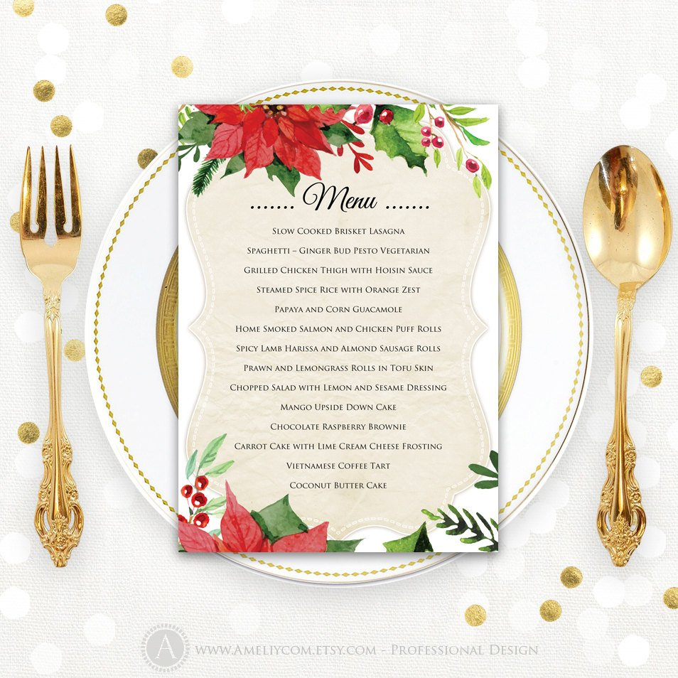 Christmas Menu Printable Dinner Menu Rustic Christmas Dinner | Etsy - Free Printable Christmas Dinner Menu Template