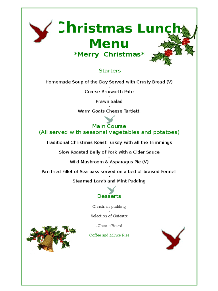 Christmas Menu Template - 17 Free Templates In Pdf, Word, Excel Download - Free Printable Christmas Dinner Menu Template