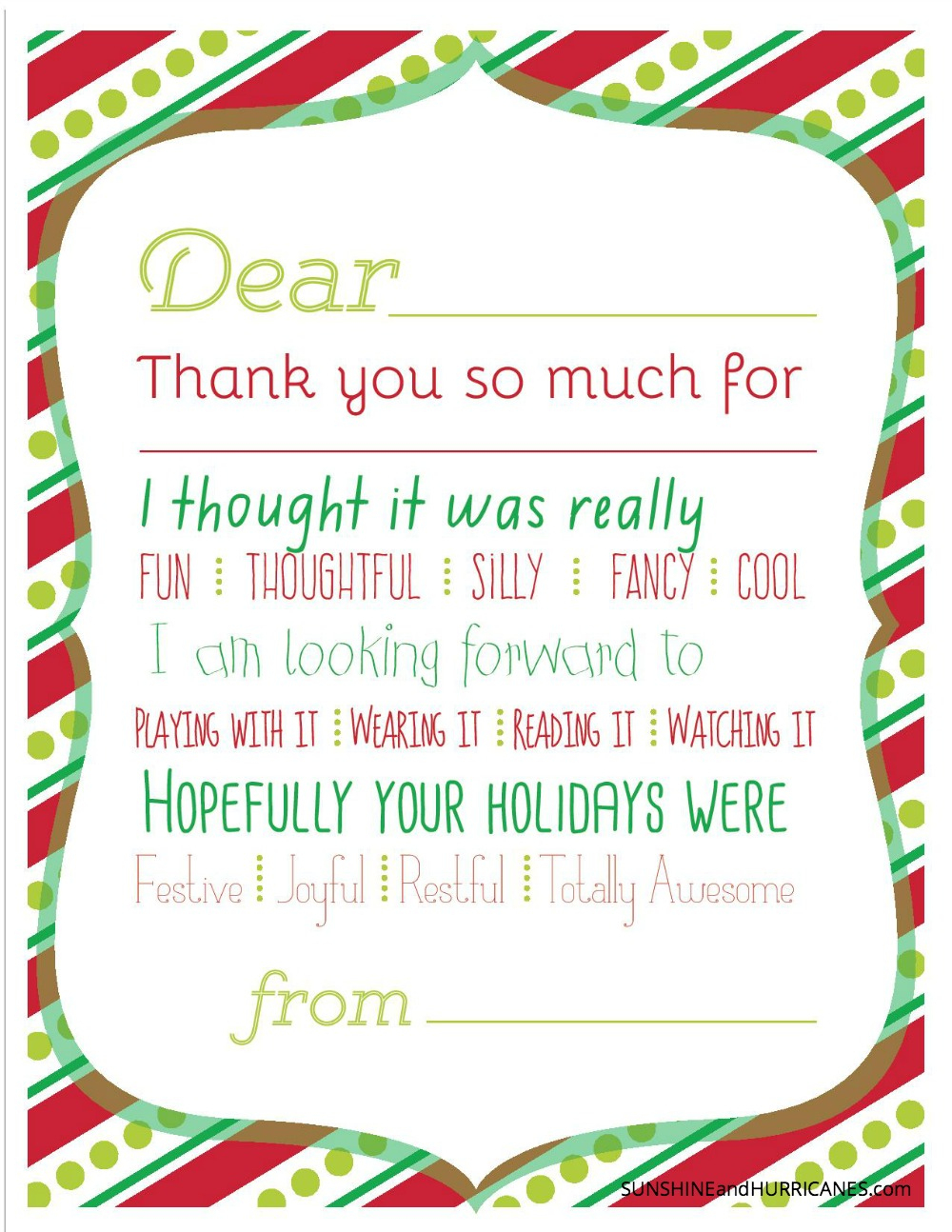 Christmas Printable Thank You Cards For Kids - Christmas Cards For Grandparents Free Printable