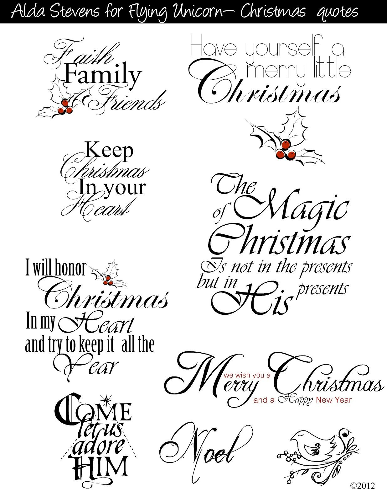 Christmas Sayings For Commercial And Personal Use | Christmas Decor - Free Printable Greeting Card Sentiments