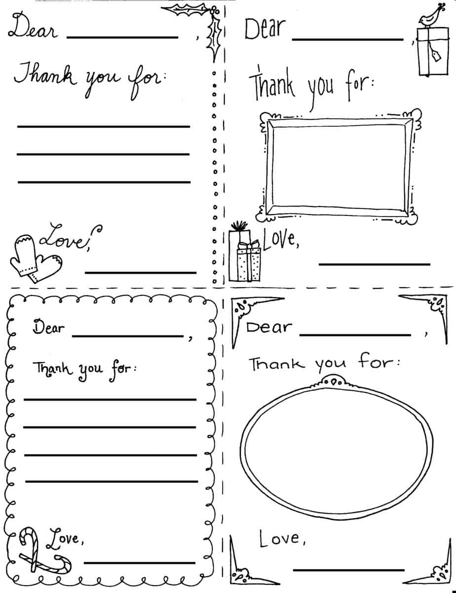 "Christmas ""thank You"" Cards Coloring Sheets - Free Christmas Thank You Notes Printable"