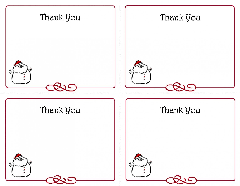 Christmas Thank You Cards Printable Free – Kubreeuforicco - Christmas Thank You Cards Printable Free