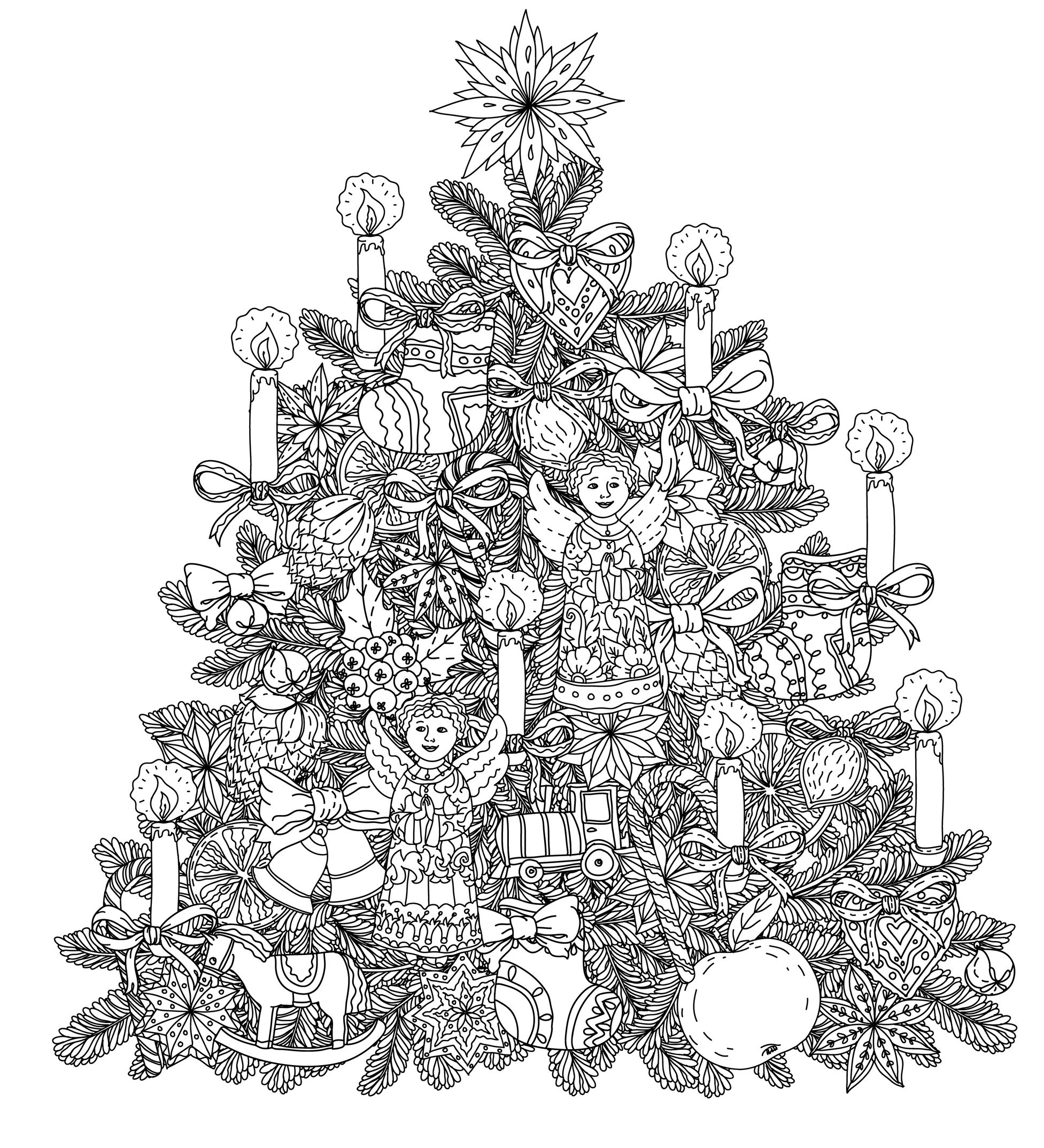 Christmas Tree With Ornaments - Christmas Adult Coloring Pages - Free Printable Christmas Tree Ornaments To Color