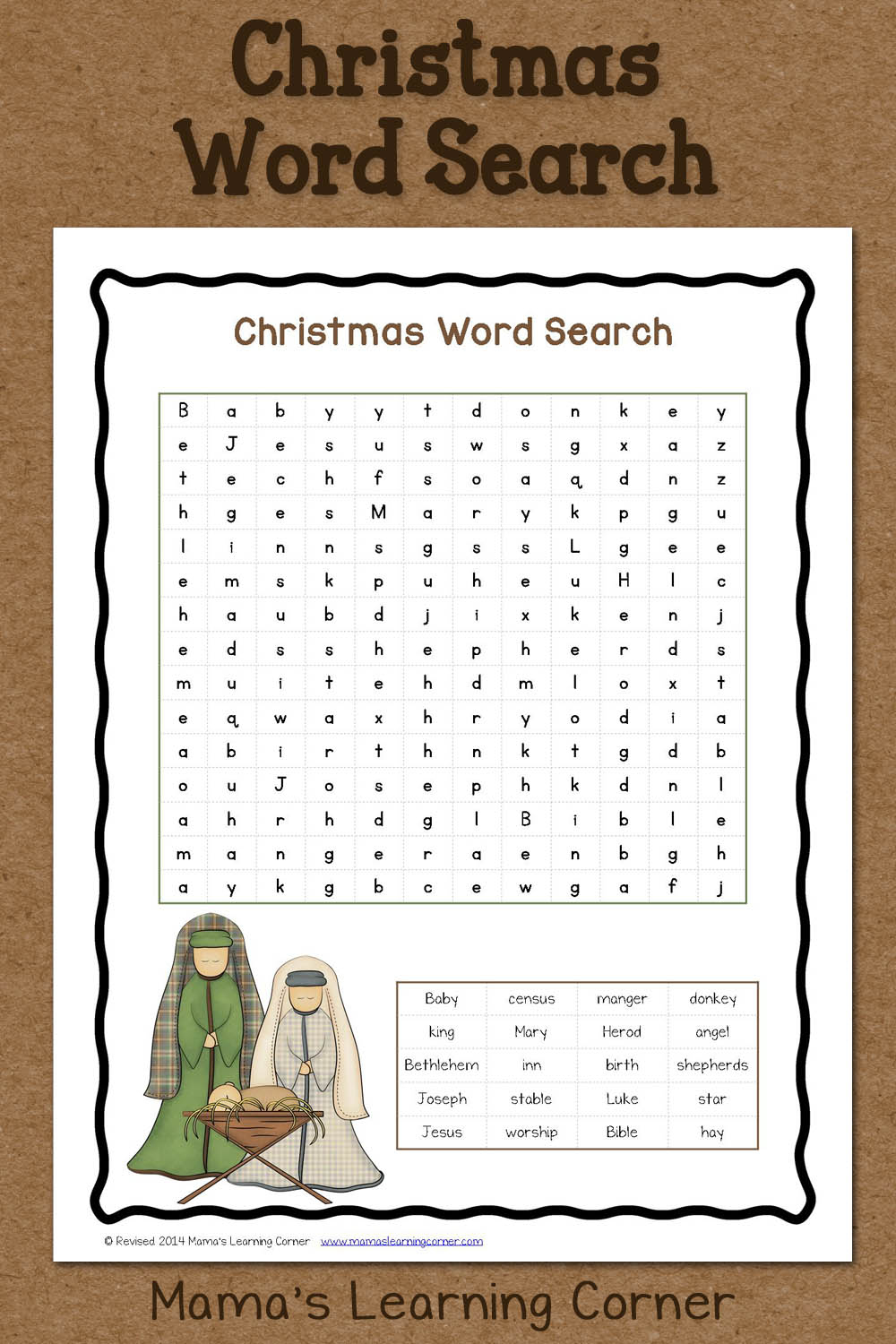 Christmas Word Search: Free Printable - Mamas Learning Corner - Christian Word Search Puzzles Free Printable