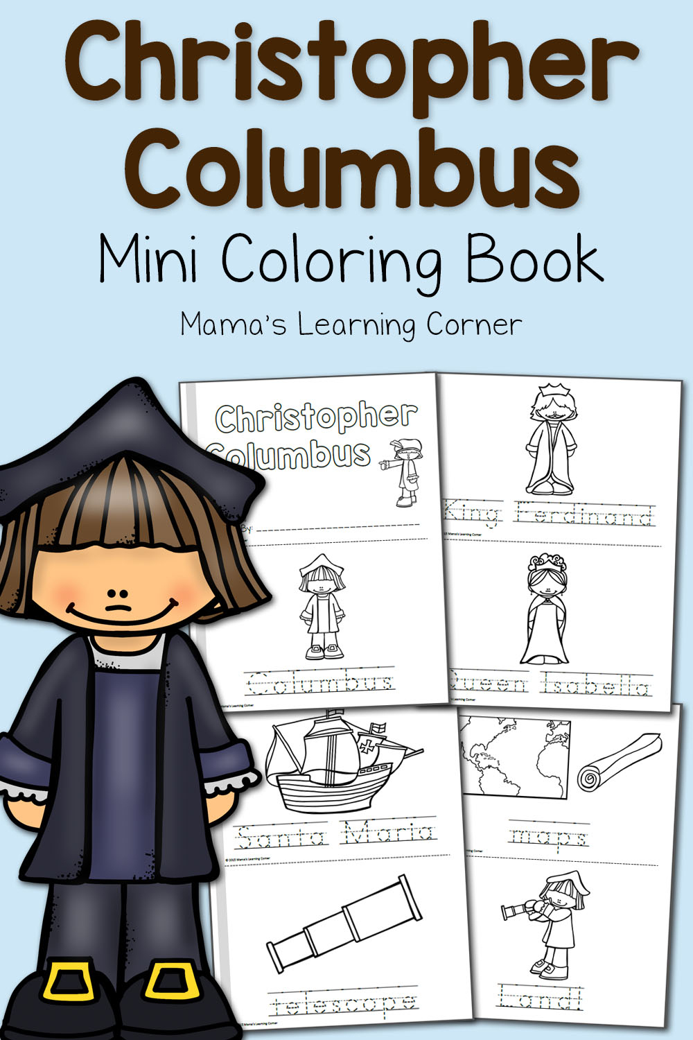 Christopher Columbus Coloring Pages - Mamas Learning Corner - Free Printable Christopher Columbus Coloring Pages
