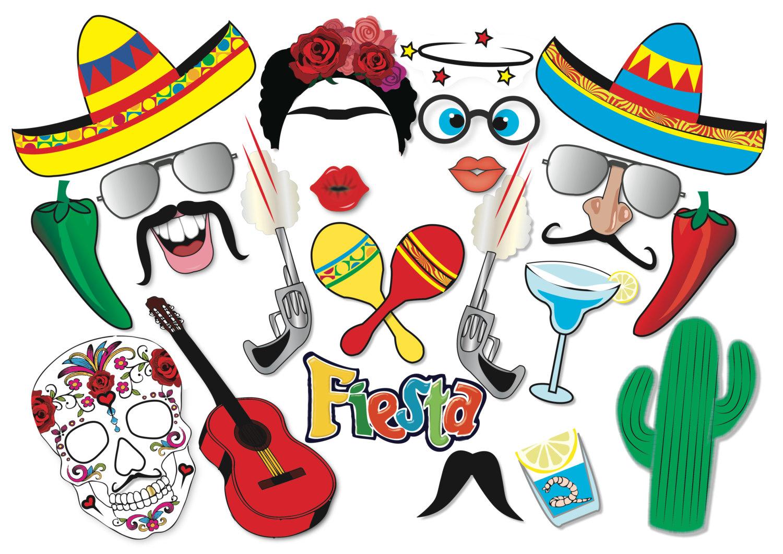 Cinco De Mayo Mexican Fiesta Party Photo Booth Props Set 22 | Etsy - Free Printable Cinco De Mayo Photo Booth Props