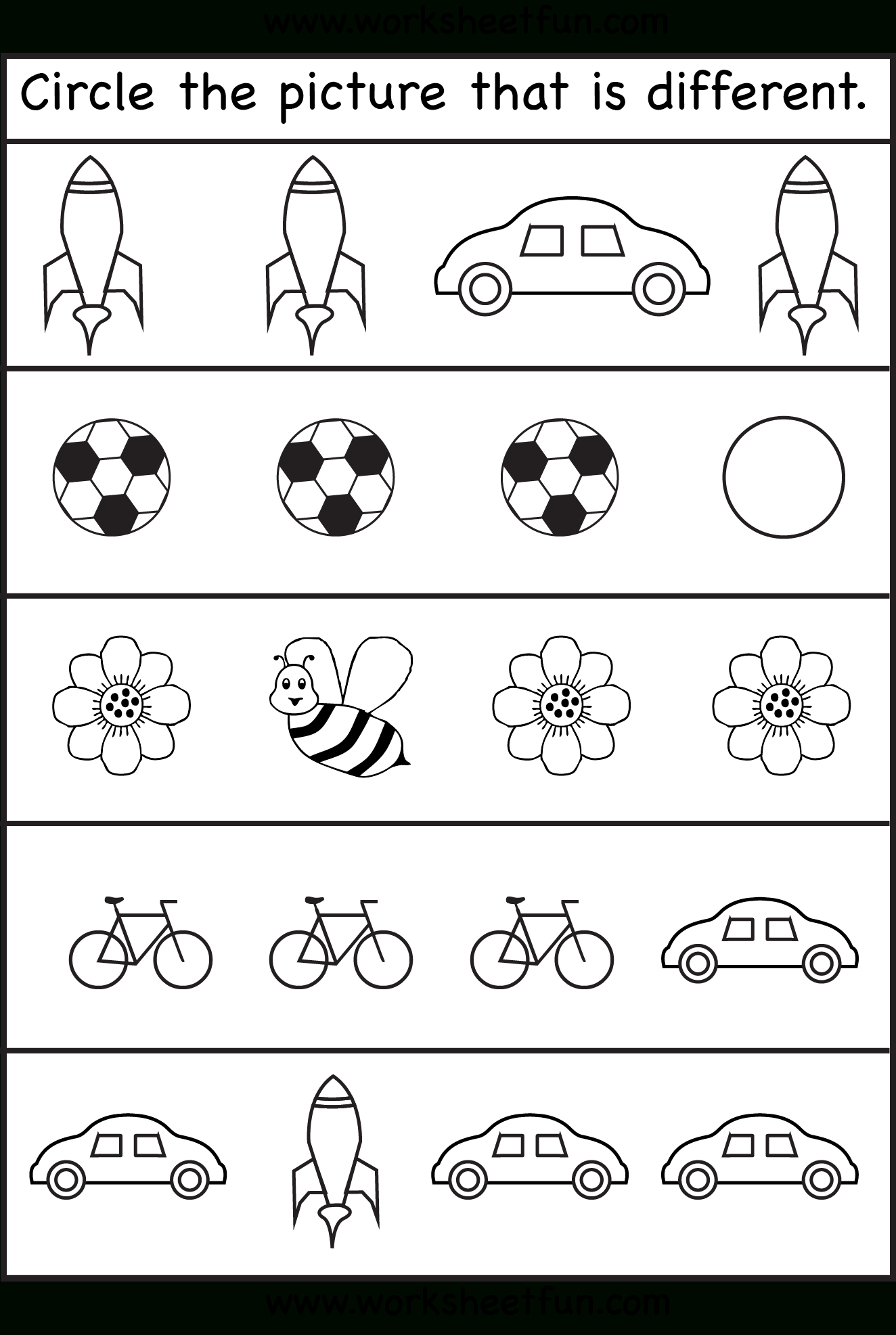 Circle The Picture That Is Different - 4 Worksheets | Printable - Free Printable Learning Pages For Toddlers