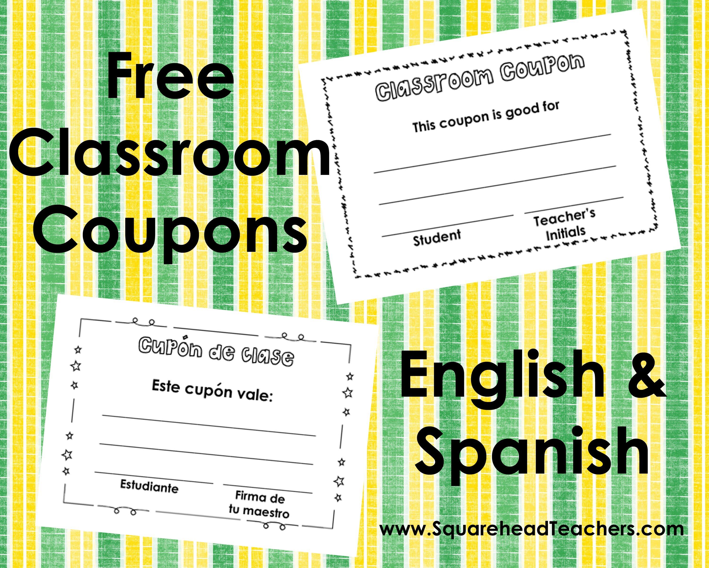 Classroom Coupons – English And Spanish   Squarehead Teachers - Free Printable Homework Pass Coupon
