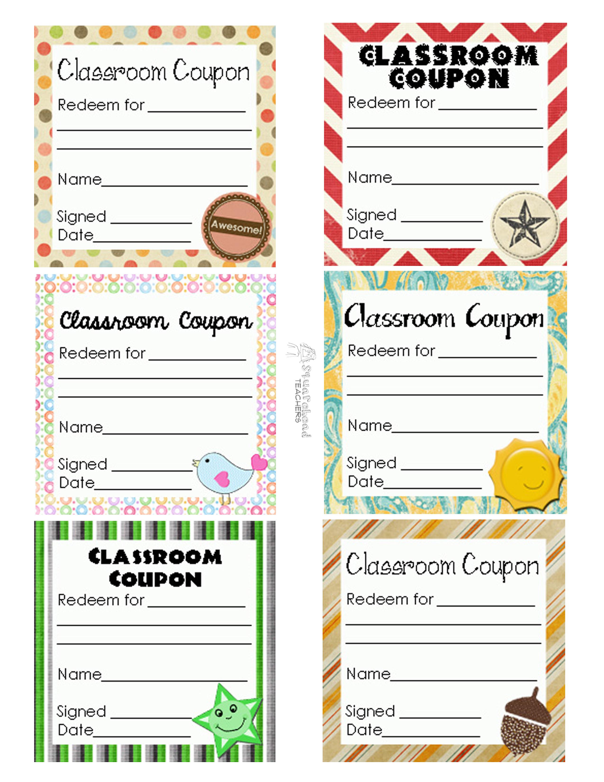 Classroom Coupons Updated   Squarehead Teachers - Free Printable Homework Pass Coupon