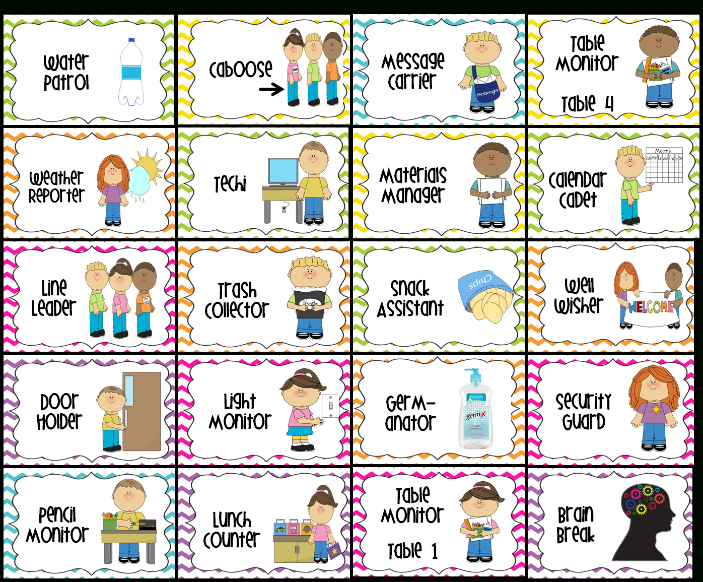 Classroom Jobs Printable | Water Patrol (2), Caboose, Message - Preschool Classroom Helper Labels Free Printable