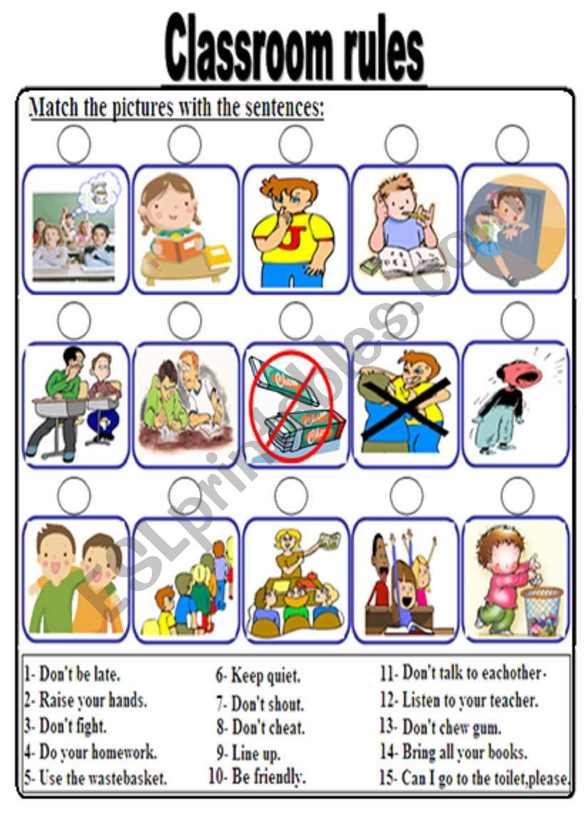 Classroom Rules - Esl Worksheetbolflayke - Free Printable Classroom Rules Worksheets