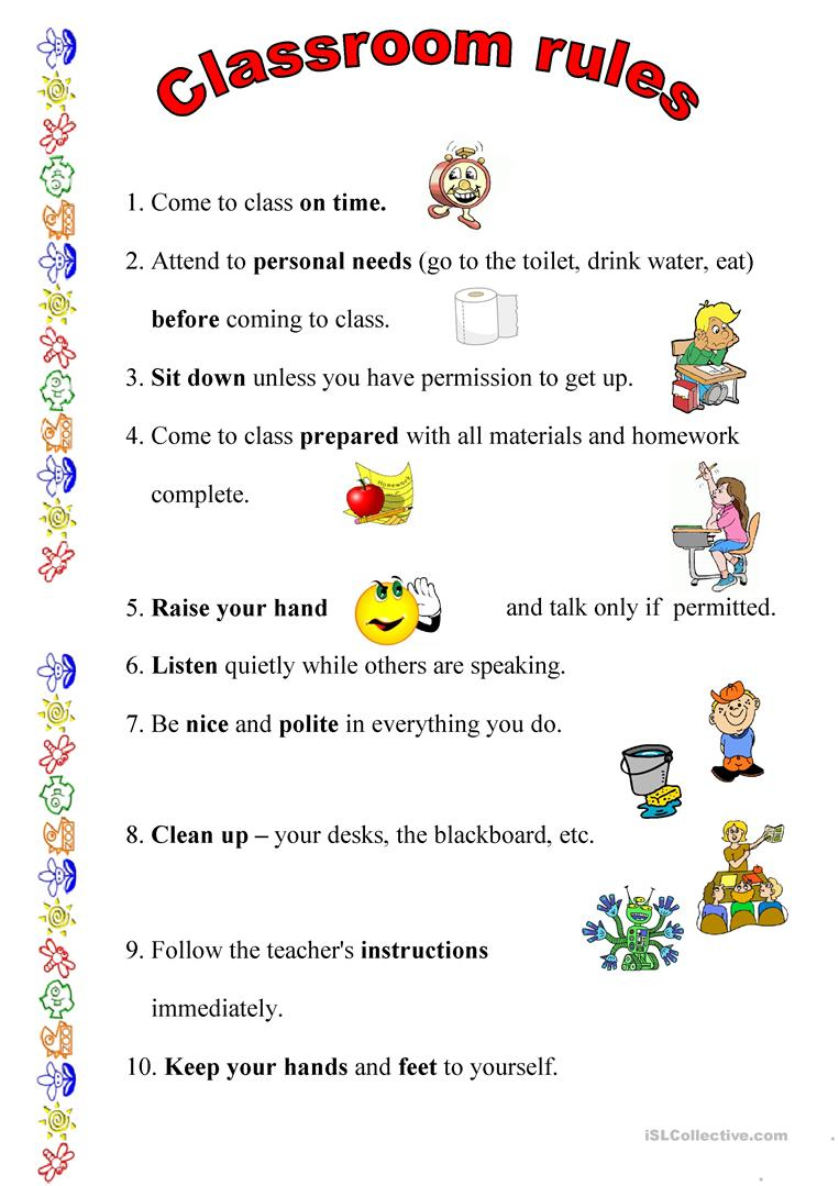 Classroom Rules Worksheet - Free Esl Printable Worksheets Made - Free Printable Classroom Rules Worksheets